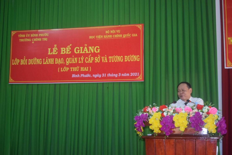 TS. Hà Quang Thanh - Quyền Giám đốc  Phân viện Học viện Hành chính Quốc gia tại TP. Hồ Chí Minh phát biểu bế giảng