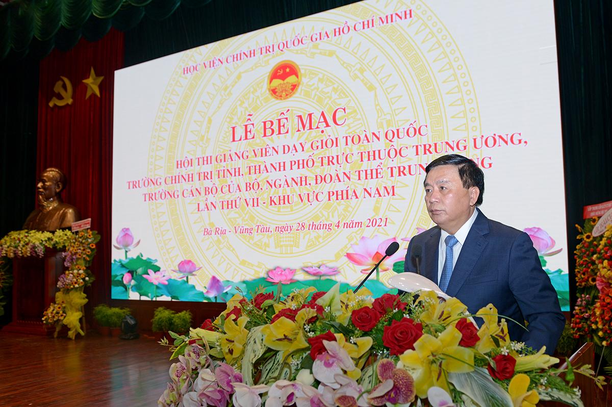 GS,TS Nguyễn Xuân Thắng, Ủy viên Bộ Chính trị, Giám đốc Học viện, Chủ tịch Hội đồng Lý luận Trung ương, Trưởng Ban Chỉ đạo Hội thi dự và phát biểu bế mạc